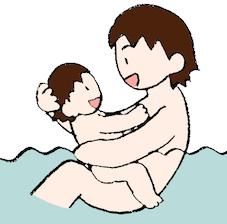 お風呂で抱っこする