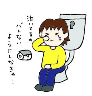 トイレで泣いてる絵
