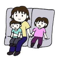 子供たちと3人で映画を見ているところ