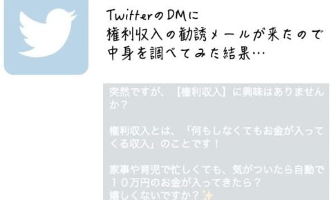 TwitterのDMからくる権利収入の勧誘メールの内容を調べてみた結果…